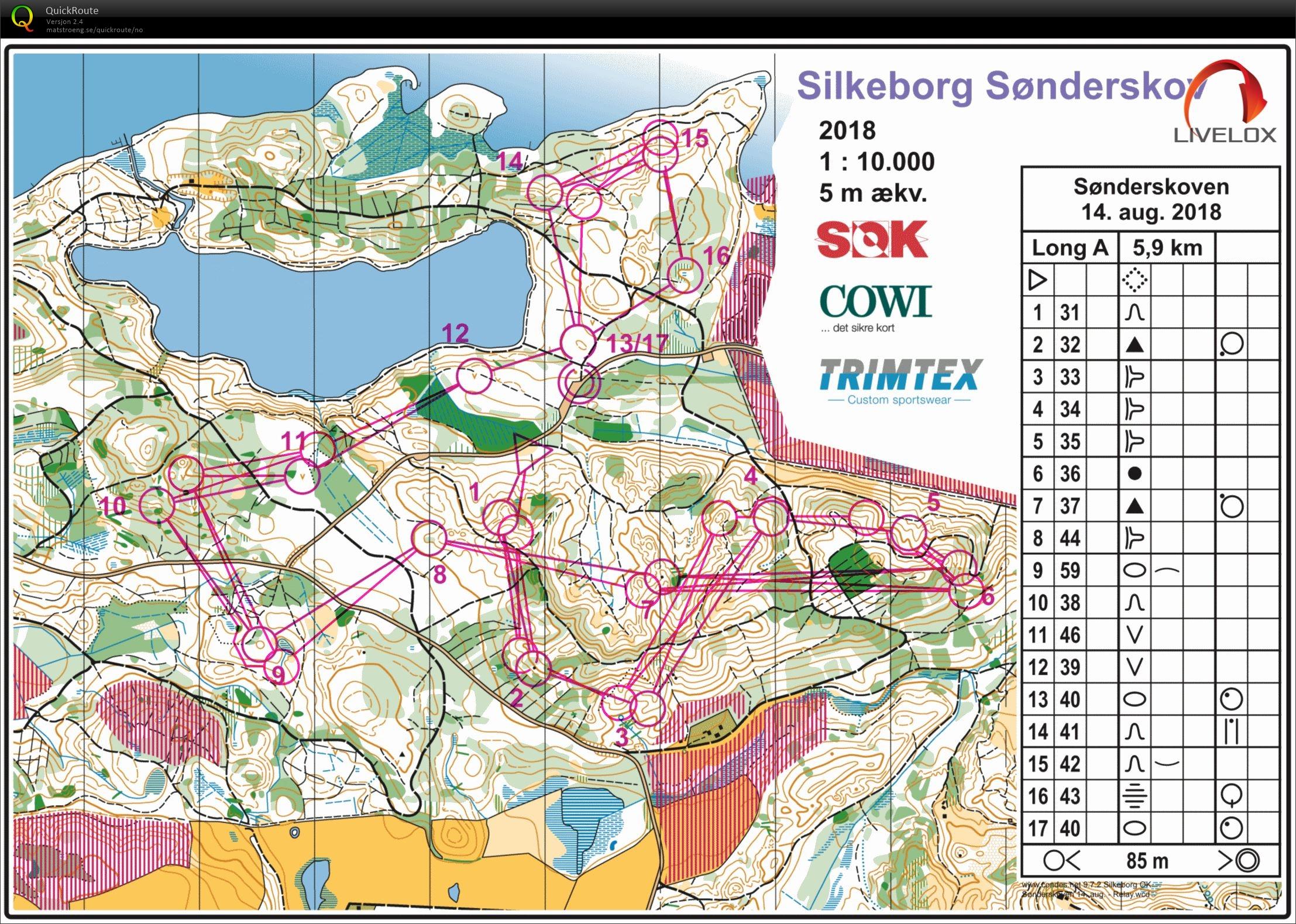 Stafettokt Sonderskov August 14th 2018 Orienteering Map From